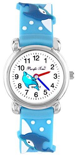Pacific Time Kinder-Armbanduhr farbige Zeiger Kinderuhr Mädchenuhr Delfin Kinder Armbanduhr Mädchen Jungen Analog Uhr Quarz weiss blau 20349