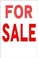 シンプル縦型看板 「FOR SALE(赤)」不動産 屋外可(約H45.5cmxW30cm)