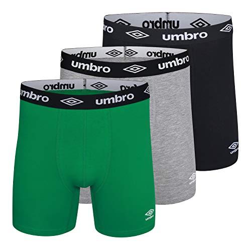 Umbro - Calzoncillos tipo bóxer, algodón elástico para hombre, 15 cm, 3 unidades, Vapor Gris/Negro/Campo Equipo, Pequeño
