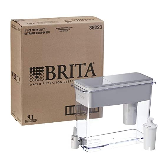 """Brita Standard UltraMax Water Filter Dispenser, Gray, Extra Large 18 Cup, 1 Count 10 The BPA-free UltraMax water dispenser holds 18 cups of water, enough to fill 6 24-ounce reusable water bottles Get great tasting water without the waste; by switching to Brita, you can save money and replace 1,800 single-use plastic water bottles a year This space efficient filtered water dispenser fits perfectly on refrigerator shelves, features an easy locking lid and precision pour spigot; Height 10.47""""; Width 5.67""""; Length/Depth 14.37""""; Weight 3 pounds"""