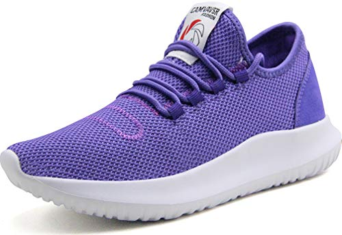 CAMVAVSR Women's Tennis Shoes Big Boys Slip on Lightweight Soft Sole Comfortable Flexible Fashion Sneakers for Young Women Purple Youth Men Size 6 Women Size 8