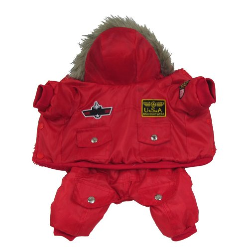 Free Fisher Winter Hundemantel Hunde Winterjacke in verschiedenen Design, 4 Beine in Rot, Gr. XL