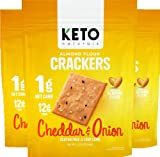 Keto Crackers low carb crackers (Cheddar and Onion) Keto friendly snack crackers almost zero carb no sugar (3 Pack) almond flour crackers healthy snack absolutely gluten free crackers paleo snack friendly
