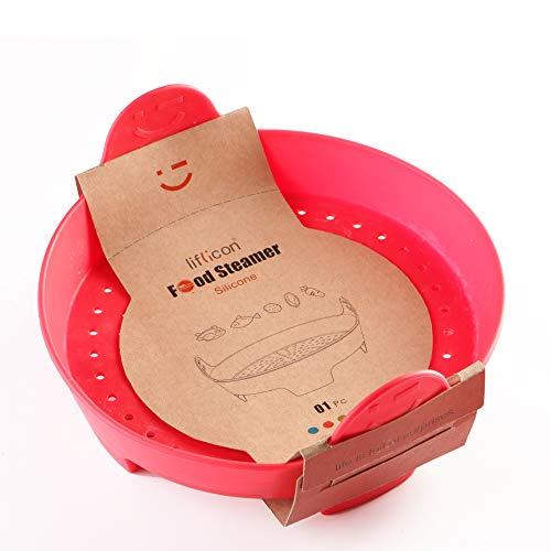 Liflicon - Cesta de cocción al vapor de silicona, cesta para vaporera y alfombras, cocina sana y ligera (rojo)