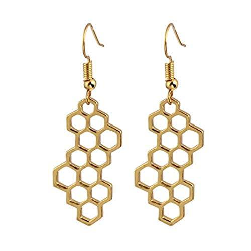 yichahu Pendientes de gota con forma de panal de abeja para mujer con forma geométrica hexagonal