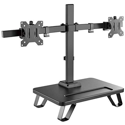 RICOO TS4311, Monitor Halterung 2 Monitore, Schwenkbar, Neigbar 17-27 Zoll (43-69cm) PC Bildschirm-Ständer, Tisch Stand-Fuß, VESA 100x100, Schwarz