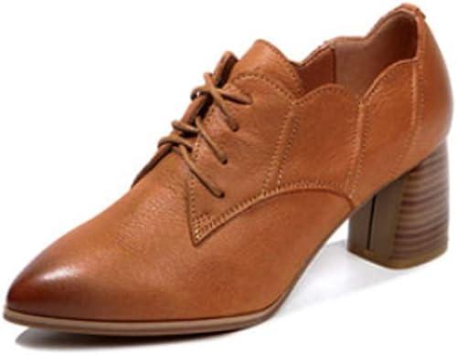 AJUNR Femmes Loisirs des Chaussures De Femme Printemps Version Coréenne Baitao 6 Cm Talon Haut Chaussures en Cuir