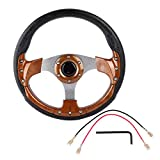 Gorgeri Racing Steering Wheel 13in 320mm Universal PU Leather Car Sport Racing Drift Steering Wheel White