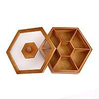ソリッドウッドドライフルーツボックス、木製のフルーツ収納ボックス、透明なふた付きの分割トレイ,30*30*9.5
