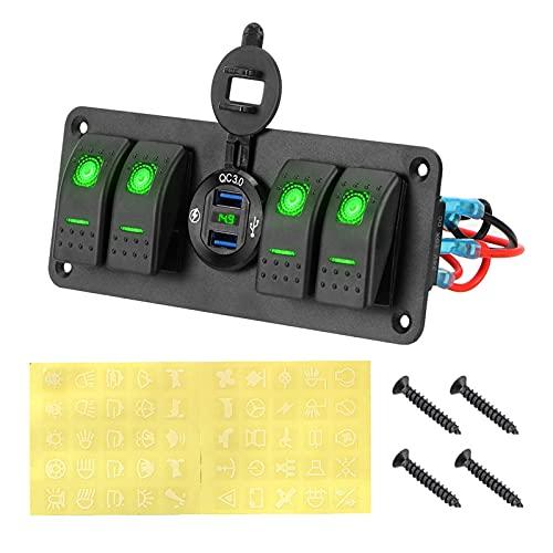 ZHENGJI Panel de interruptores de automóviles 4 pandillas LED Voltímetro Digital Impermeable Panel de Interruptor de rockero Marino 12 ~ Control de Circuito de 24V (Color : Green)