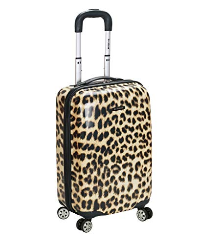 Rockland Safari Hardside Spinner Wheel Luggage, Leopard, Carry-On 20-Inch