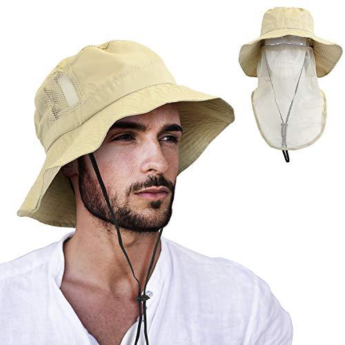 Tirrinia Anti-Mosquito Bug Mask Hat Bucket Sun Cap with Face Net Mesh Boonie Hat Tan