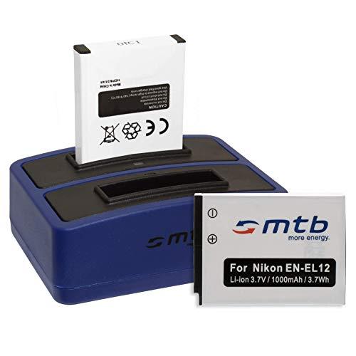 2 Batterie + Caricabatteria doppio (USB) EN-EL12 per Nikon Coolpix A900, S640, S8100, S9700, W300 / KeyMission 360, 170 - v. lista - Cavo USB micro in