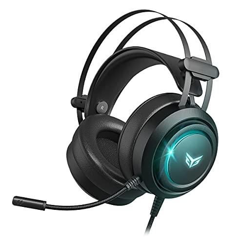 Bingle G30 USB Gaming Headset für PC & PS4 & PS5 Wired Noise Cancelling Gamer Kopfhörer mit Mikrofon, Virtual 7.1 Stereo Surround Sound und RGB Licht für beste & Top Audio-Comptuer Spiele