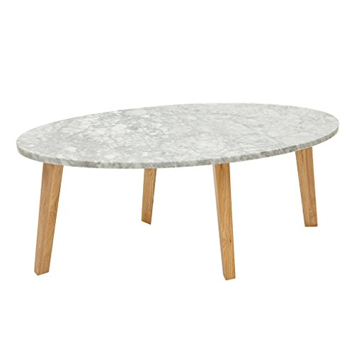 Madison Park Milo Accent Marble Top Mid-Century Modern Style Coffee Table, 42 Inch Wide, White
