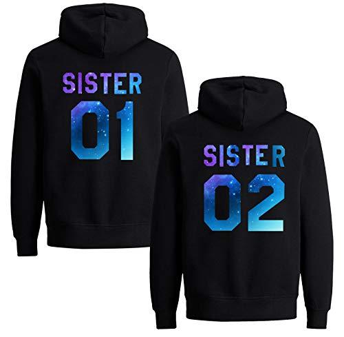 Best Friends Pullover für Zwei Mädchen Beste Freunde Hoodie für Sister Freundin Schwester Kapuzenpullover Damen Pulli BFF Geschenke Sister Pullover Set (Sister 02 - Starry - 1 Stück, S)