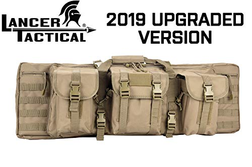 Lancer Tactical Rifle Case 600D Polyester Double Long Rifle Bag Tactical Gun Case Accessory Pouches Secondary Gun Compartment Lockable Compartment Inner Storage Backpack Straps for Hunting Shooting