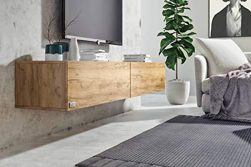 Wuun® 120cm/ Front Eiche (Korpus Eiche)/8 Größen/6 Farben/TV Lowboard TV Board hängend Hängeschrank Wohnwand/Somero