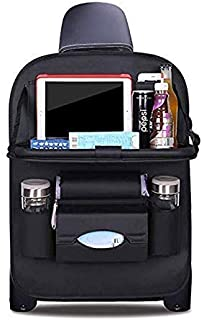 Active lifestyles 360 - Durable Luxury PU Leather Car Back Seat orgainzer - Foldable Multipurpose Organizer Tray + Tablet Holder +Multipurpose compartments Quality seat Cover, (Black) Travel Accessory