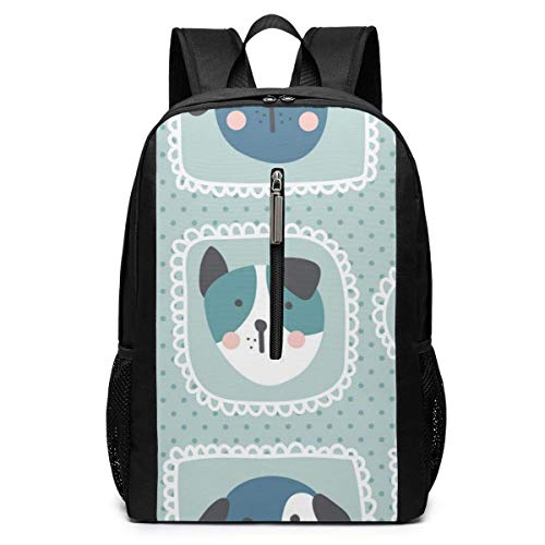 TRFashion Sac à Dos Dogs Pattern Vector Laptop Backpack 17 inches Travel Gym Bag Yoga Bag School Bag Book Bag for Men Women Teenagers