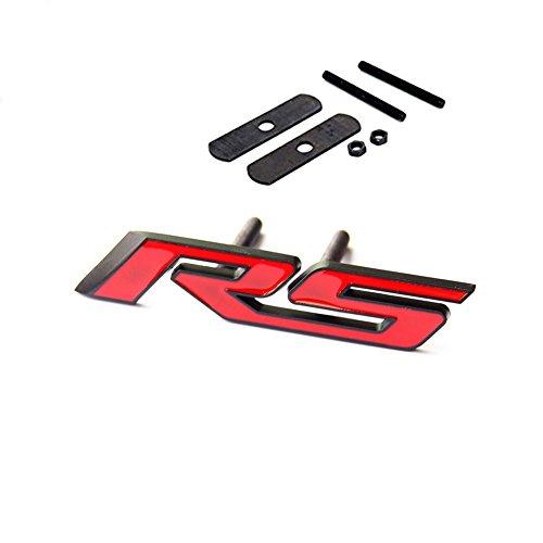 Yoaoo 1x OEM Black Grille Rs Emblem Badge 3D Allloy for Camaro Series Matte Black Red