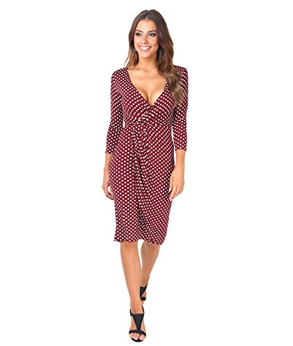 KRISP Vestido Moda Mujer Fruncido, Granate (6487), 42, 6487-WIN-14
