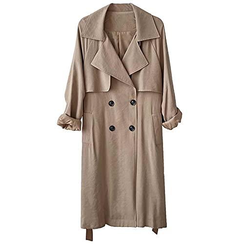 ShZyywrl Mujer Abrigo Abrigos Causal Otoño Mujer Gabardina Lado Dividido Elegante Abrigo De Manga Larga Liso Color Puro Abrigo Midi Cinturón Rompevientos L Caqui