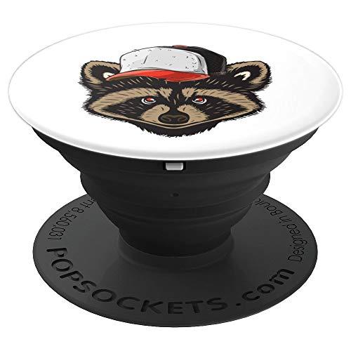 Waschbär Mit Kappe Vintage Raccoon Niedlich Süß Tiere Trend - PopSockets Ausziehbarer Sockel und Griff für Smartphones und Tablets
