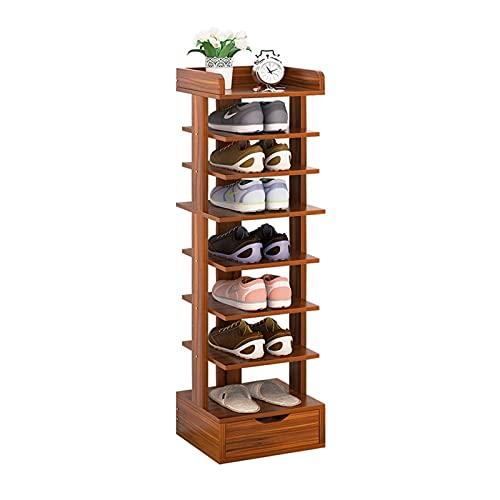 FOLA Zapatero 8 Niveles de Zapato con cajón Moderno Mueble de Zapatos Home Furniture Hallway Vertical Space Saving Shoe Storage Organizador Zapatera (Color : Sandalwood)