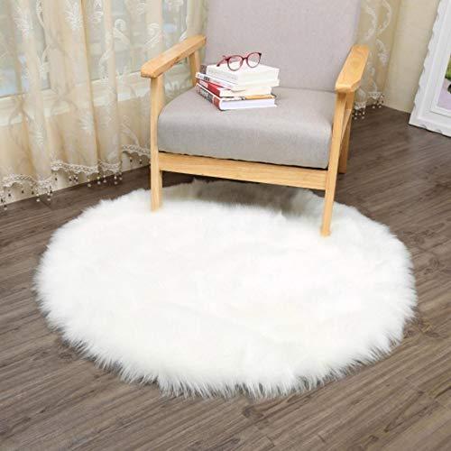 Tapis en peau de mouton synthétique Gusspower 30x 30cm - Tapis décoratif de qualité luxe, descente de lit, tapis de salle de séjour Weiß
