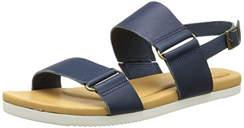 Teva Womens Avalina Flat Leather Backstrap Sandal Shoes, Navy, US 5.5
