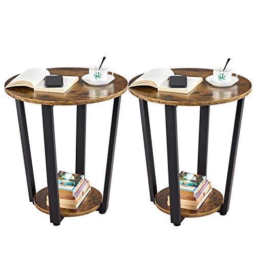 Yaheetech Nachttische 2 Set, Runder Beistelltisch, Ablagetisch für Wohnzimmer Schlafzimmer, Sofatisch aus Holz & Metall