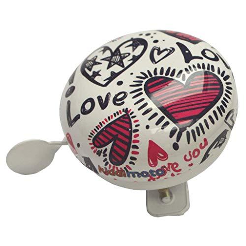 KIDDIMOTO Glocke Design Klingel/Fahrradklingel zubehör für Fahrrad, Roller, Scooter, Kinderroller Kinderfahrrad & Laufrad - Love/Liebe - Klein (58mm)