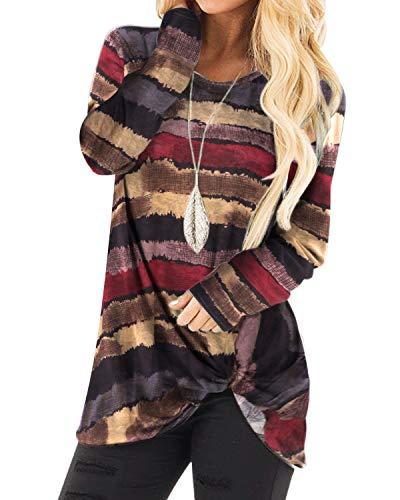 YOINS Pull Long Femme T-Shirt Sport Casual Top Décontracté Chemise Femme Manche Longue Grand Taille,Rayure-bordeaux,46 EU(XL)