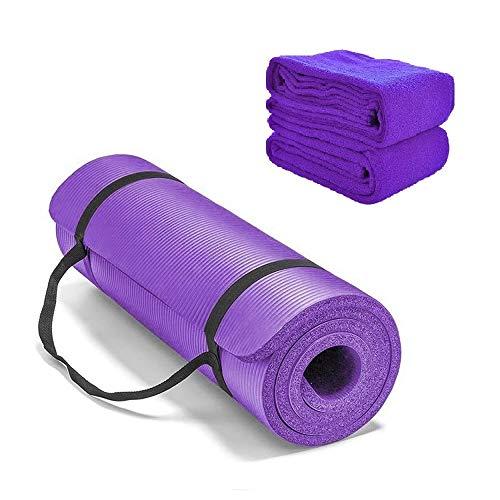 CXZC Esterilla de Yoga, Esterilla de Ejercicio Antideslizante, Esterilla de Ejercicio Extra Gruesa para Yoga, Esterilla de Fitness Pilates con Toalla y Correa de Transporte, 183 x 61 x 2 cm - Púrpura