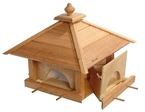 """Großes Vogelfutterhaus \""""4 Schubladen\"""" in minimalistscher Optik, 46,5 x 46,5 x 39 cm, Eiche"""