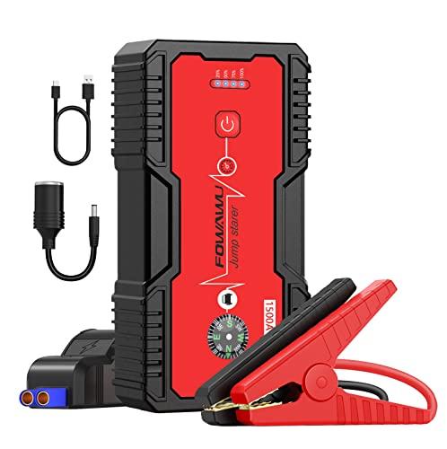 FOWAWU Arrancador de Coches,1500A 18000mAh Arrancador de Baterias de Coche para 7L de Gasolina/5.5L de Diesel, Impermeable Jump Starter ,Portatil Booster Bateria Carga Rápida USB QC 3.0/DC 12V/LED