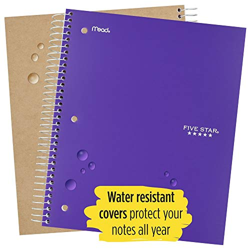 """Five Star Spiral Notebooks, 1 Subject, Wide Ruled Paper, 100 Sheets, 10-1/2"""" x 8"""", Assorted Colors, 6 Pack (38042) Photo #3"""