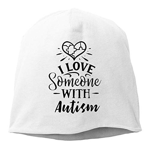 Zhgrong Weiß Ich Liebe jemanden mit Autismus.Mützen Kappen Schädel Hüte Unisex Warm Hedging Cap