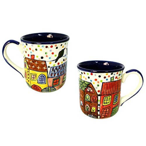Gall&Zick Tasse Kaffeetasse Teetasse Geschirr Keramik Bemalt Bunt Stadt Motiv Set/2