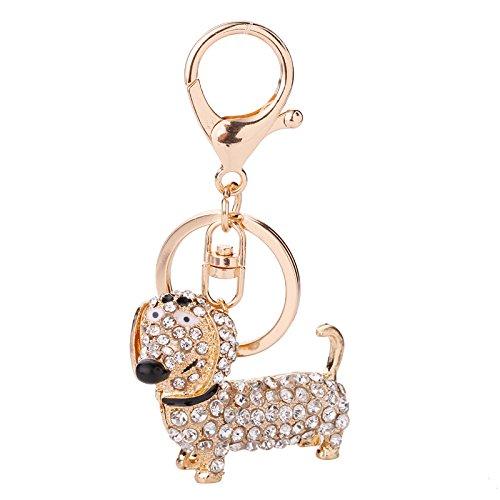 Preisvergleich Produktbild Unbekannt Home Decor Shiny Strass Puppy Dog Anhänger Dackel Schlüsselanhänger Brieftasche Einkaufstasche Schlüsselbund (weiß) (Farbe : White)