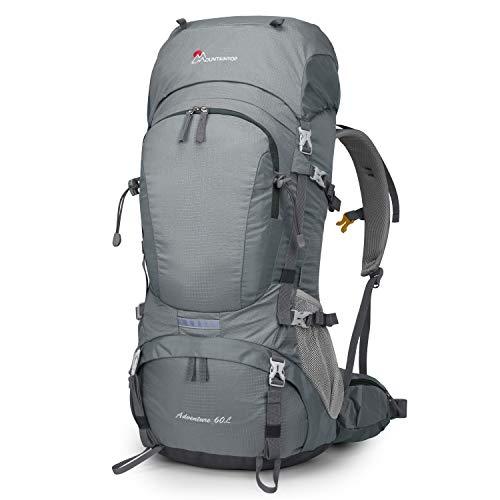 MOUNTAINTOP 50/60L Mochila de Senderismo Gran Capacidad Mochila de Montaña Impermeable para Viaje Camping Deporte al Aire Libre (60L-Gris Plateado)