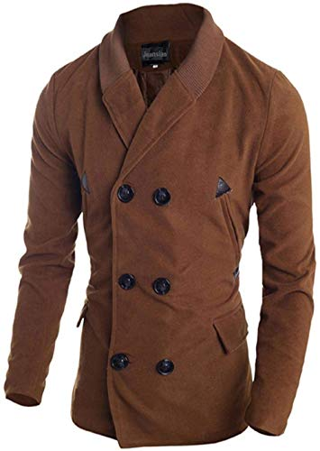 HaiDean heren Fashion Knit Stitching Lapel Breasted Notched Double Moderne nonchalant trench lange coat jack winter overcoat tops 9560