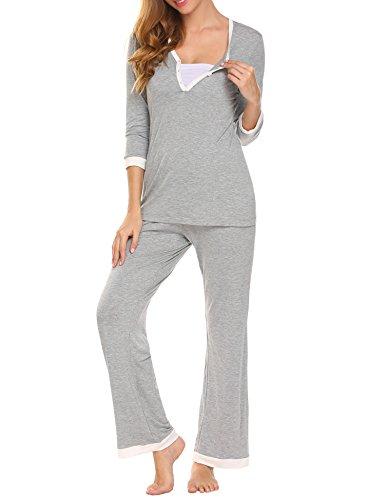 MAXMODA Women's Maternity Nursing Pajamas Set...