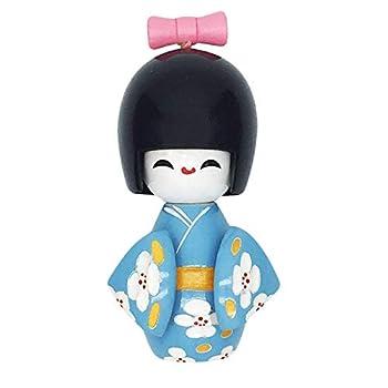 XMHF Wooden Japanese Kimono Kokeshi Doll Desk Ornament Blue