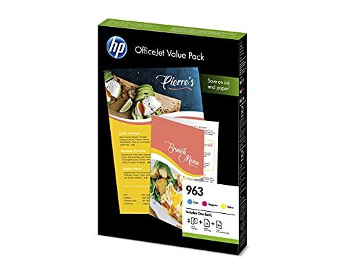 HP 963 6JR42AE, Paquete de Ahorro para Oficina, Pack de 3 Cartuchos de Tinta Originales, Cian, Magenta y Amarillo, y 125 Hojas de Papel A4, para impresoras HP OfficeJet Pro MFP 9010, 9012, 9014 y 9015