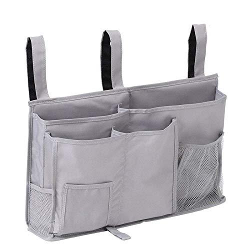Pocket Bedside Big Hanging Storage Bag Organizer 8 Pockets for Books Phones Tablets Accessory and TV Remote Multifunctional Caddy (Grey)