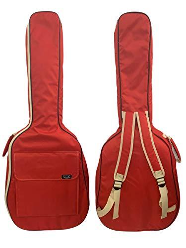 Gitarrentasche Konzertgitarre Gig Bag Rucksack Tasche gepolstert 4/4-3/4-1/2 - (4/4-101 cm, Rot)