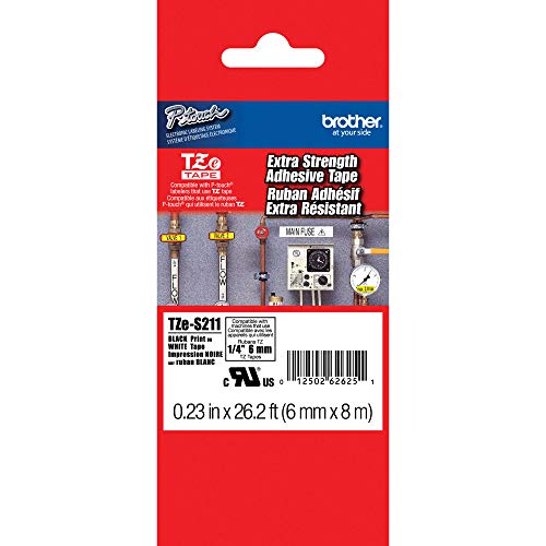 """Brother Genuine P-touch TZE-S211 Tape, 1/4"""" (0.23"""") Wide Extra-Strength Adhesive Laminated Tape, Black on White, Laminated for Indoor or Outdoor Use, Water-Resistant,0.23"""" x 26.2' (6mm x 8M), TZE-S211"""