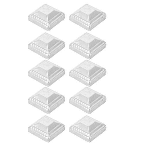 YARNOW Poste de Valla Tapas de Metal Plateado 6X6 Cm Poste de Lámpara de Buzón Decorativo Tapones de Madera para Postes de Madera 10 Piezas (Estilo Aleatorio)